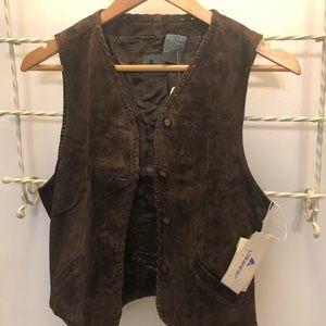Women Suede Vest Lizwear Petite Brand size 8